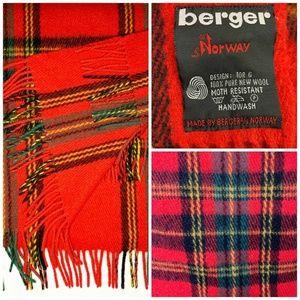 Vintage BERGER OF NORWAY Wool Plaid Throw Blanket